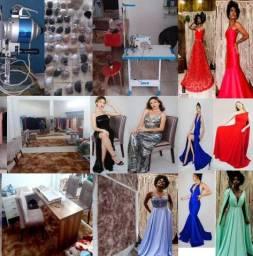 Vestidos de alta costura junto com ateliê e maquinas de confecção de porte pequeno