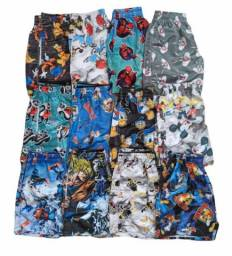 Kit 4 Shorts Moda Praia Atacado Florido, Personagem, Cerveja, Bebidas, Floral
