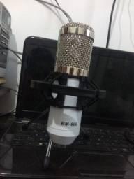 Microfone condensador + tripé + cabo + aranha