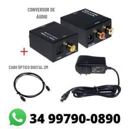 Conversor de Audio Digital para Analogico Rca + Cabo Óptico