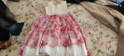 Vestido Infantil branco e vermelho