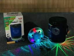 Caixa de Som Bluetooth Amplificada Com LED e Alça
