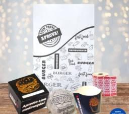 Título do anúncio: Kit Delivery Hamburgueria-Saco Kraft G, Caixa Box, Caixa Batata Fritas, Papel Acoplado