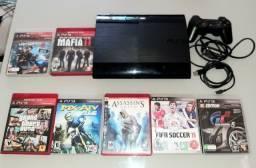 Título do anúncio: Play Station Sony, PS3  Slim, super novo, completo e com 7 jogos