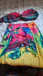 Conjunto de short saia e croped