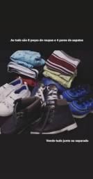 Lote de roupinhas e sapatos infantil