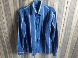camisa azul listrada