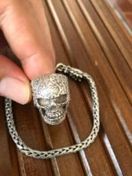 Vendo pulseira prata Bali e anel (925)