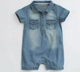 Macacão romper bebê jeans