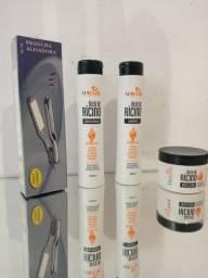 Kits shampoo+condicionador+máscara capilar+prancha grande marca vec apenas 70 reais