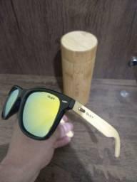 Óculos OLEY Bamboo (Polarizado) Amarelo Espelhado