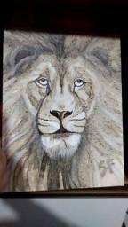 Título do anúncio: Leão feito com Pó de Café (Pintura/ Tela)