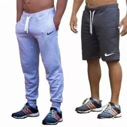 Kit calça + bermuda moletom academia fitness
