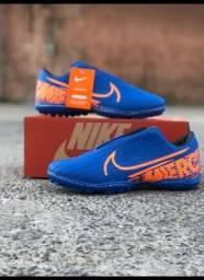 Chuteira Nike Azul Laranja