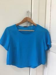 Blusa cropped Afghan azul