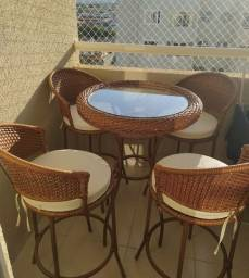 Mesa Bistrô c Almofadas 4 Banquetas Area Gourmet Sacada Apartamento Piscina Jardim Varanda