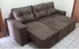 Ofertaço!Sofá Retrátil 2,20m 3 Módulos Conforto e Qualidade na sua casa com Frete Grátis!
