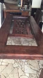 Mesa em madeira Graváta com vidro