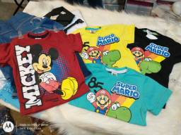 Camisetas Estampadas (Tamanho RN, 1 e 2 Anos)