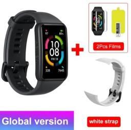 Smartwatch Honor Band 6 Huawei Relógio Oxímetro Original + 2 Películas + pulseira branca