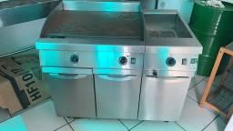 Equipamento Cozinha Industrial Balcão Refrigerado e cubas, Chapa com banho maria