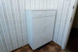 Armário Multiuso 3 gavetas / 2 portas / em Madeira Branco 121 cm x 81 cm x 40 cm