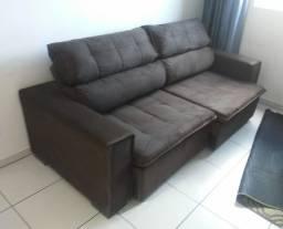Sofá retrátil reclinável cor preto 2,25m