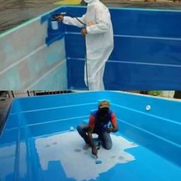 Título do anúncio: Pintura e reformas de piscinas de fibra de vidro, ou azuleijo.