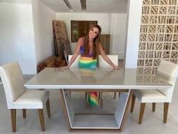 Mesa de Jantar Sofia c/ 6 cadeiras Grécia Veludo Creme Tampo Reto ? OffWhite