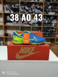 Chuteira Nike Society Azul Com Verde