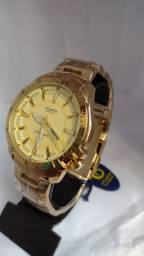 Relógio Premium executivo original prova dágua original banhado a ouro