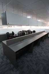 Estação de trabalho p/ 10 pessoas / 10 lugares / em MDF Cinza 95 cm x 586 cm x 120 cm