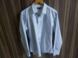 camisa branca com listras azuis request