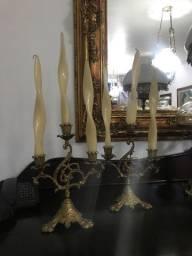 Par de castiçal em bronze