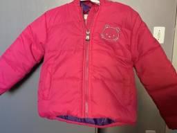 Jaqueta de nylon infantil Helô Kit na cor rosa e roxa TAM 3