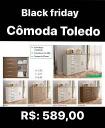 Promoção Black Friday! Cômoda Toledo em diversas cores. Entrega grátis!