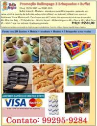 Promoção Relâmpago de 3 Brinquedos + Buffet Infantil + Monitor e Atendente