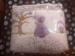 Kit berço 8 peças lilas completo