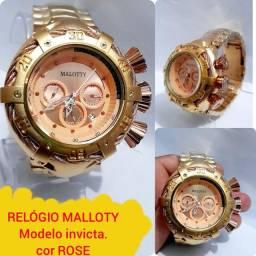 RELÓGIO MALOTTY.  DOURADO COM ROSE