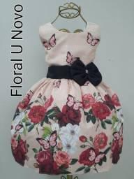 vestido infantil floral 2 a 6 anos U