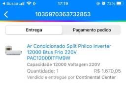Título do anúncio: Ar-condicionado split philco 12000 btus