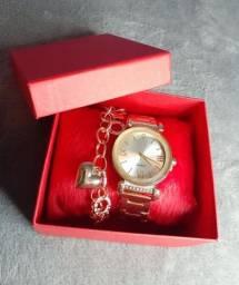 Kit relógio feminino é pulseira