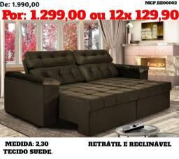 Sofa Retratil e Reclinavel 2,30 em Suede - Fique em Casa Com Conforto-Novo Embalado