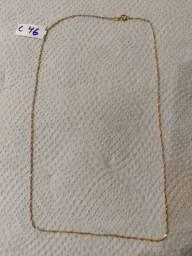 Cordao feminino de ouro branco e amarelo  1.3 gramas 42 cm *