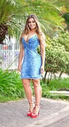 Vestido feminino jeans com lycra + Presente + Frete Grátis
