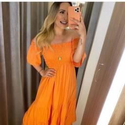 Vestido laranja longo Black friday