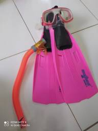 Kit máscara de mergulho e snorkel