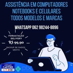 Título do anúncio: formatação assistencia em pc computador notebook e celulares
