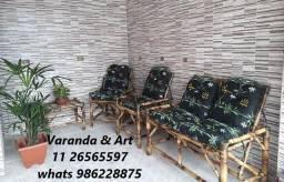 Jogo de sofá de Bambu Promoção Fábrica Pronta Entrega Poltronas cadeiras móveis conjunto