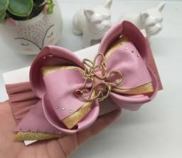 Laço Pink dourada Minnie